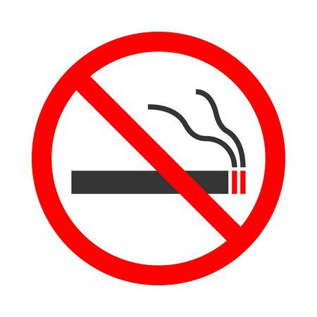 No Smoking sign isolated. Vector illustration. Red prohibition sign on white background. Ilustración de vector
