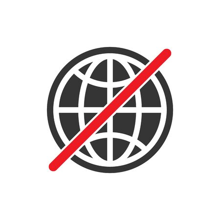 No internet connection sign. No Globe vector icon on white background. Do not use internet sign isolated.