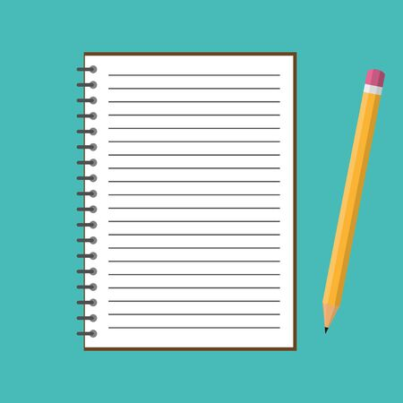 Notebook with yellow pencil. Vector illustration. Blank spiral notepad and pencil isolated