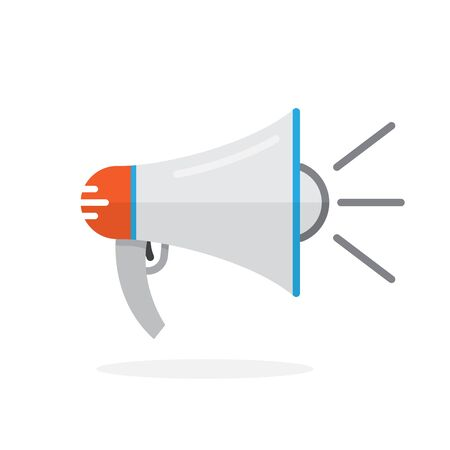 Vector Megaphone icon in flat design. Symbol of rally or protest. Loudspeaker icon isolated.