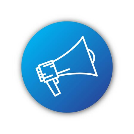Vector Megaphone icon. Blue circle button. Symbol of rally or protest. Loudspeaker icon.