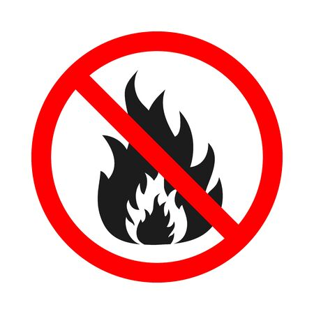 No bonfire prohibited vector symbol. No fire sign on white background. Stop flame sign