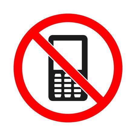 Phone forbidden vector sign. No phone sign on white background. No cell phone sign isolated