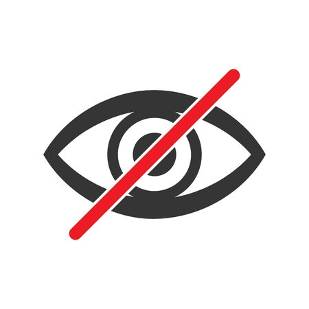 Forbidden look sign on white background. No vision sign. Prohibited look icon. Dont look. Vector stock illustration. Ilustracja