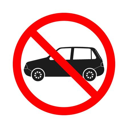 Forbidden car sign on white background. No vehicles allowed sign. Prohibited car icon. Vector stock illustration.
