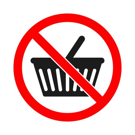 No shopping cart sign. Prohibited shopping basket icon. Not allowed buy sign on white background. Vector stock illustration.