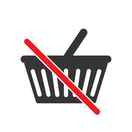 No shopping cart sign. Not allowed buy sign on white background. Prohibited shopping basket icon. Vector stock illustration.