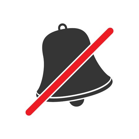 No sound volume sign on white background. No noise sign. Prohibited noise icon. Vector no Bell icon.