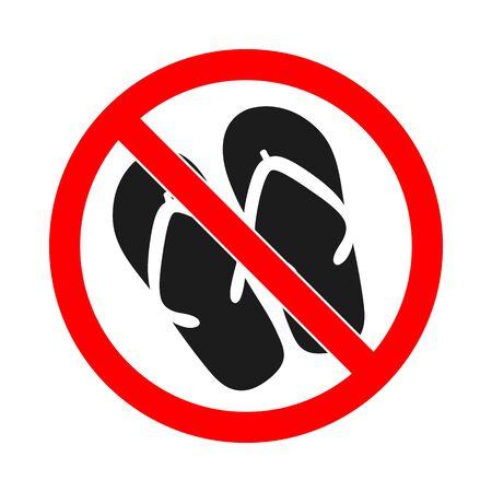 No sandals. No flip flops sign. No flippers sign. Flip flops not allowed. Vector stock illustration.