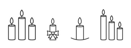 Set of outline christmas candles icons. Vector burning candles in trendy linear style. Vector illustration.