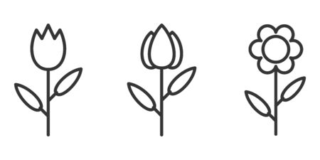 Outline flower icons set. Isolated flowers linear icons. Black vector illustration Иллюстрация