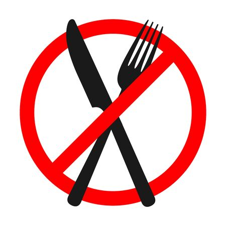 Sign of prohibition of a fork and knife. Stop eating sign isolated. No food vector sign.
