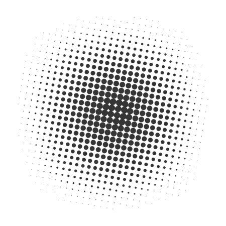 Black halftone dots background. Vector illustration. Pop art dotted background.