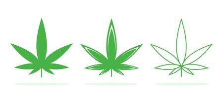 Set of vector Cannabis icons. Cannabis leaf. Green Medical marijuana leaves isolated. Illusztráció