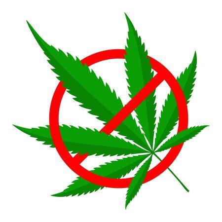 Deje de signo de marihuana aislado. Signo de prohibición de cannabis. Hoja de cannabis vector verde.