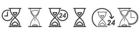 Set of Time and Hourglass icons in thin line style. Outline sandglass icons isolated. Vector illustration. Linear Clock icons. Çizim
