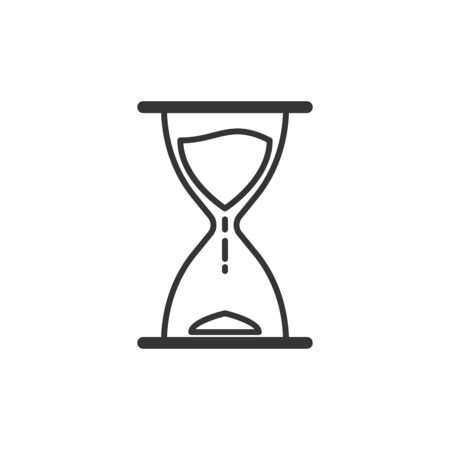 Time or Hourglass icon in thin line style. Outline sandglass icon isolated. Vector illustration. Linear Clock icon. Çizim