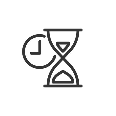 Hourglass icon in thin line style. Outline sandglass icon isolated. Time concept. Vector illustration. Linear Clock icon.