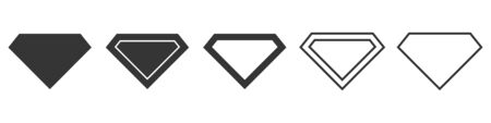 Set of diamond icons. Black diamond icons isolated. Vector illustration in flat style.