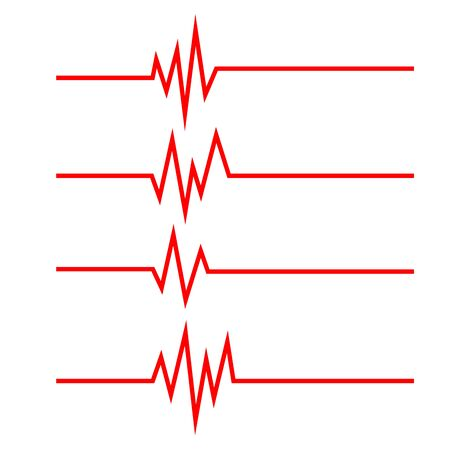 Set of Heartbeat line icons in flat style. Heartbeat waves. Pulse symbols isolated. Vector illustration.