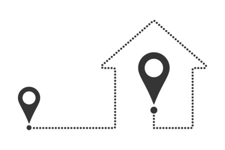 Location pins with a route in the shape of a house. Outline home location icon. The way home. Vector illustration.