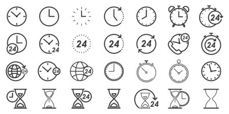Set of Time and Clock icons in thin line style. Outline time icons isolated. Vector illustration. Linear Clock icons. Çizim