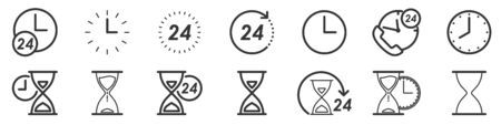 Set of Time and Clock icons in thin line style. Outline time icons isolated. Vector illustration. Linear Clock icons.