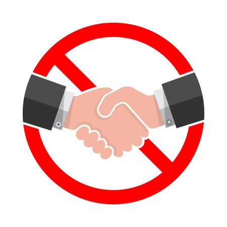 Handshake forbidden vector sign. No collaboration sign on white background. No dealing icon isolated Vector Illustration