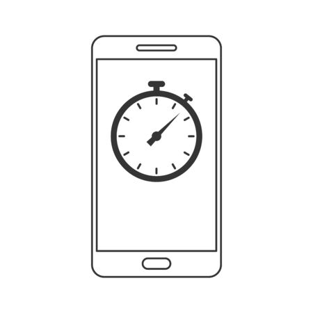 Phone icon with stopwatch in flat linear style. Phone outline icon isolated. Vector illustration.