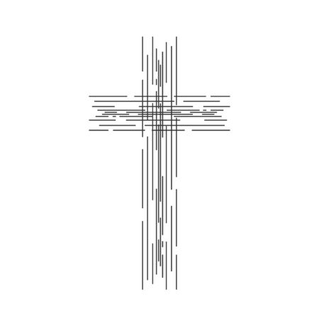 Crucifix symbol. Abstract christian cross icon isolated. Linear religion cross in flat style. Vector illustration.