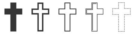 Christian Cross vector icons. Set of Christian Crosses on white background. Vector illustration. Various black Christian Crosses.