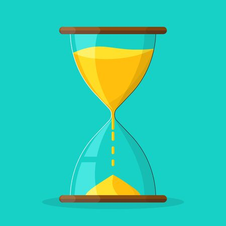 Sandglass vector icon. Cute Hourglass icon in flat style. Time or Clock icon. Vector illustration.
