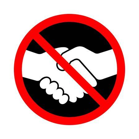 Interdiction de la poignée de main. Arrêtez la poignée de main. Signe vectoriel interdit de poignée de main. Aucune icône de poignée de main isolée.