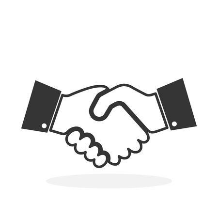 Handshake icon isolated on white background. Black linear Handshake icon in flat design. Vector illustration.