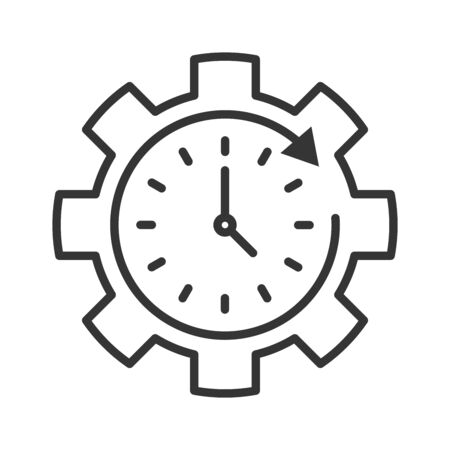 Clock setting icon in thin line style. Time setting icon. Vector illustration. Linear Clock icon. 向量圖像