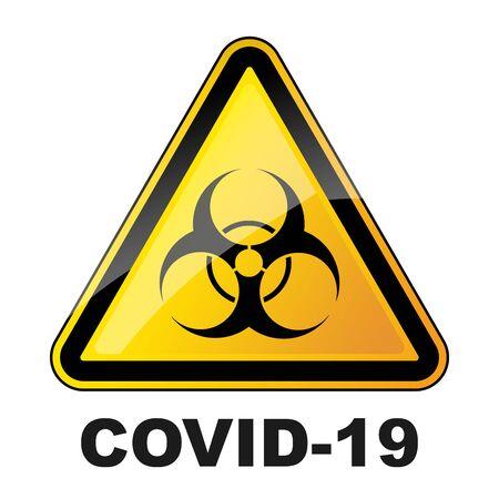 Triangular biohazard sign isolated. Biohazard coronavirus sign. No covid-19 sign. Vector illustration.