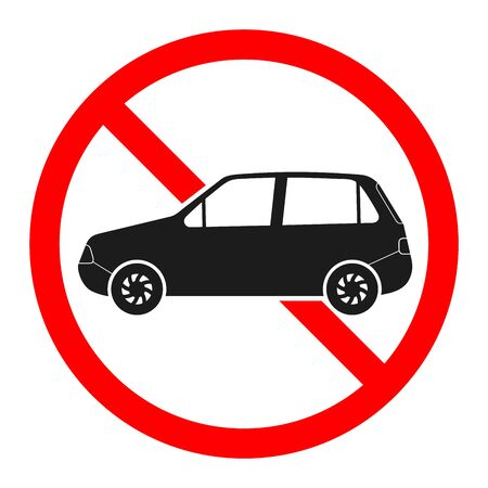 Stop car sign. No car red sign isolated. Vector illustration.