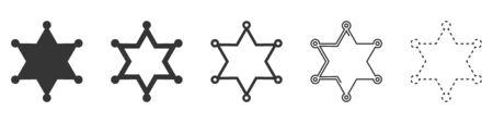 Sheriff star vector icons. Set of star symbols on white background. Vector illustration. Various black Sheriff stars