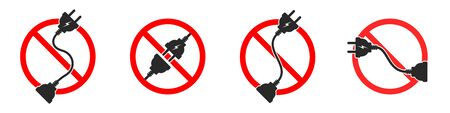 Electric cord is ban. Extension cord ban. Set of red vector danger signs isolated. Hazard electric icons.