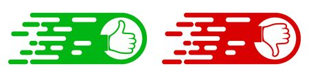 Like and dislike abstract icons. Vector illustration. Thumb up and thumb down icons isolated.