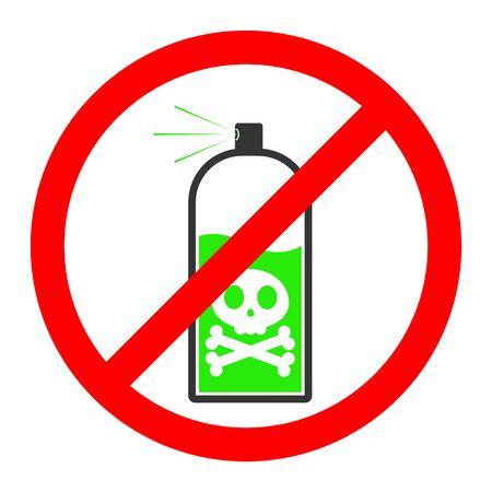 Prohibition spray icon. Spray danger symbol on white background. Vector illustration.