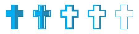 Christian Cross vector icons. Set of Christian symbols on white background. Vector illustration. Various blue Christian Crosses  イラスト・ベクター素材
