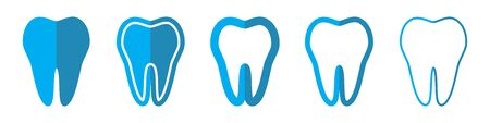 Tooth vector icons. Set of Teeth symbols on white background. Vector illustration. Various Tooth icons  イラスト・ベクター素材