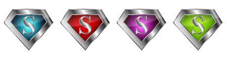 Superhero logos set. Superhero logo template in a silver frame. Vector illustration.  イラスト・ベクター素材