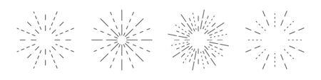 Fireworks linear icons set. Round sunburst symbol isolated. Vector illustration. Fireworks flat icon