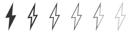 Lightning icons set. Set of lightning linear icons. Vector illustration. Lightning vector icons isolated.