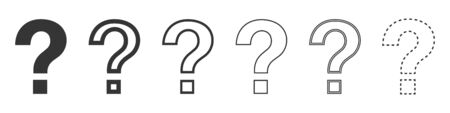Question mark vector icons. Set of question mark symbols on white background. Vector illustration. Various black Question mark.