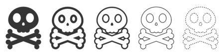 Skull and crossbone vector icons. Set of Skull symbols on white background. Vector illustration. Various black Skull icons.