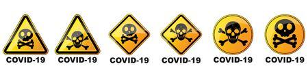 Set of coronavirus danger signs. Vector illustration. Warning symbols with human skull. Yellow hazard sign