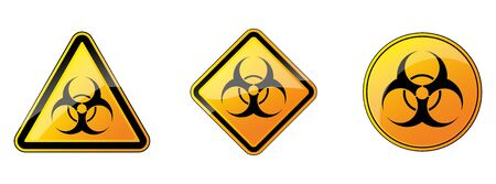 Biohazard sign. Set of biohazard danger signs. Vector illustration. Warning symbols. Yellow hazard sign